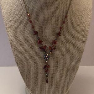 Vintage Avon aurora borealis & red stone necklace